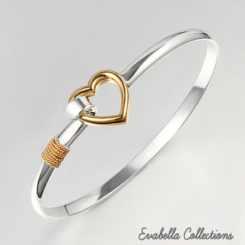 Hold My Heart - Gold and Silver Polished Bracelet
