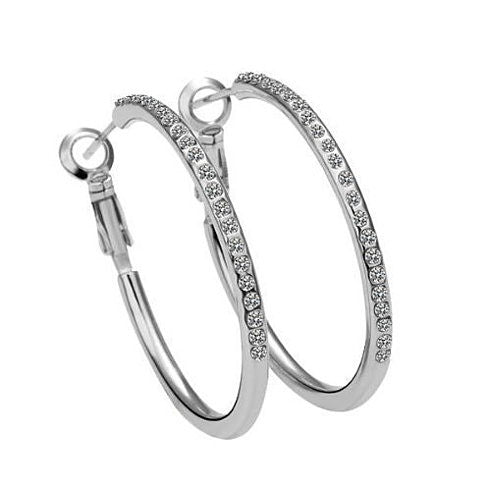 Hoop Earrings with Crystals in 18kt GF  White, Yellow or Rose Gold - VistaShops - 1