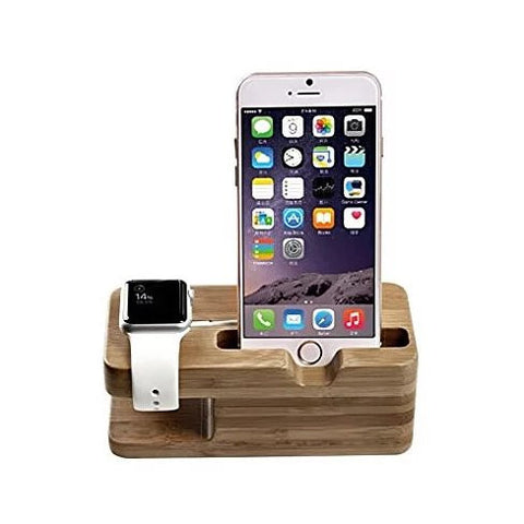 iPhone and iWatch Docking and Charging Station in Natural Wood - VistaShops - 1