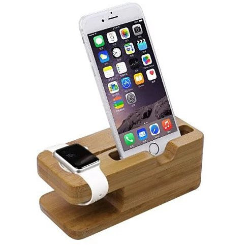 iPhone and iWatch Docking and Charging Station in Natural Wood - VistaShops - 2