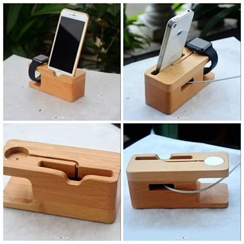 iPhone and iWatch Docking and Charging Station in Natural Wood - VistaShops - 3