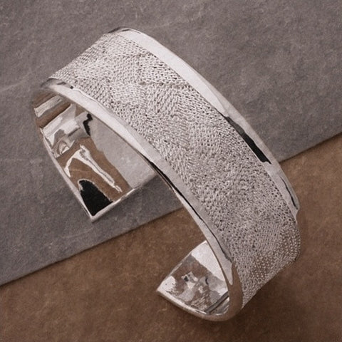 Josephine Bangle Bracelet a Woven Mesh in High Silver Polish - VistaShops - 1