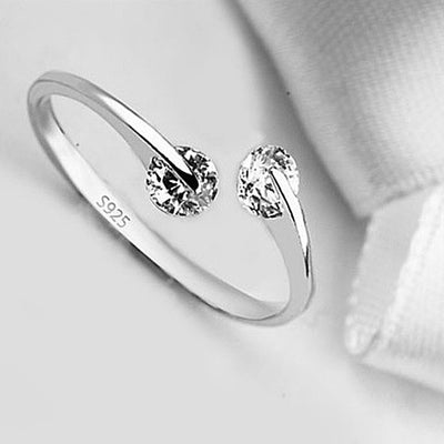 Match Made In Heaven - Two Diamonds have come together on a Sterling Silver Ring - VistaShops - 1