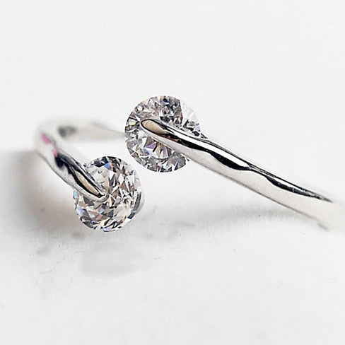Match Made In Heaven - Two Diamonds have come together on a Sterling Silver Ring - VistaShops - 2