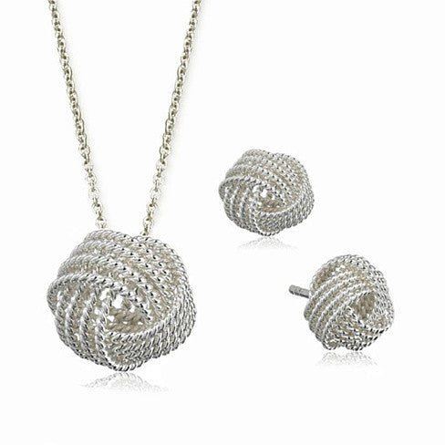 He Loves Me A Lot A Lovely Love Knot Pendant And Earrings Set - VistaShops
