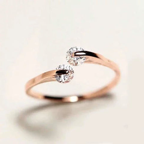 Match Made In Heaven Two Diamonds have come together on a ROSE GOLD on Sterling Silver Ring - VistaShops - 1