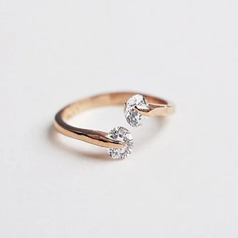 Match Made In Heaven - Two Diamonds have come together on a Gold Overlay Sterling Silver Ring - VistaShops - 1