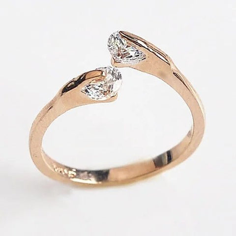 Match Made In Heaven - Two Diamonds have come together on a Gold Overlay Sterling Silver Ring - VistaShops - 2