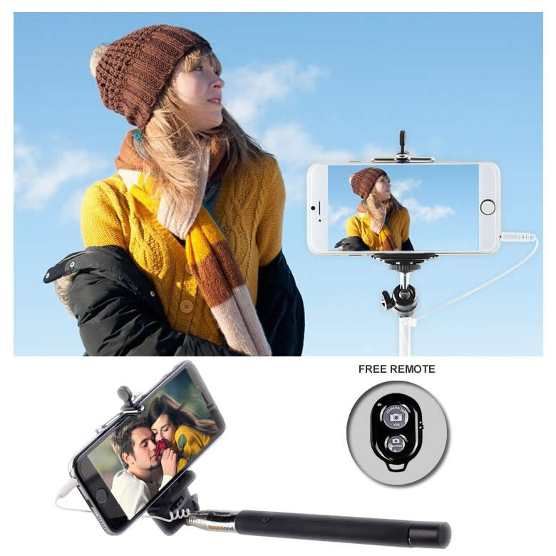 Never Charge Auto Monopod Selfie Stick - PLUS A BONUS FREE REMOTE! - VistaShops - 1