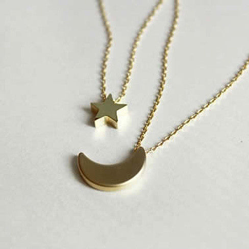 Golden Moon and Star Charms on a Layered Chain Necklace - VistaShops - 2