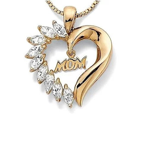 MOM's LOVE Heart Pendant With CZ - VistaShops - 1
