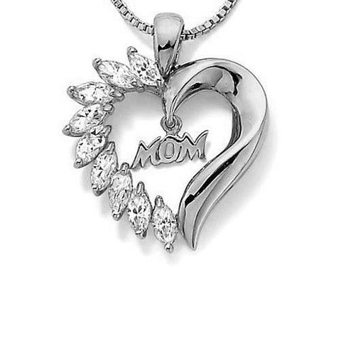MOM's LOVE Heart Pendant With CZ - VistaShops - 2