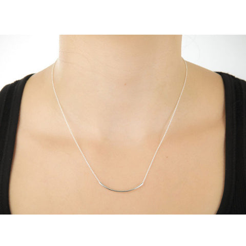 SWEET SMILE Curvy Bar Necklace In 18 Kt Gold Plating And 925 SS Plating