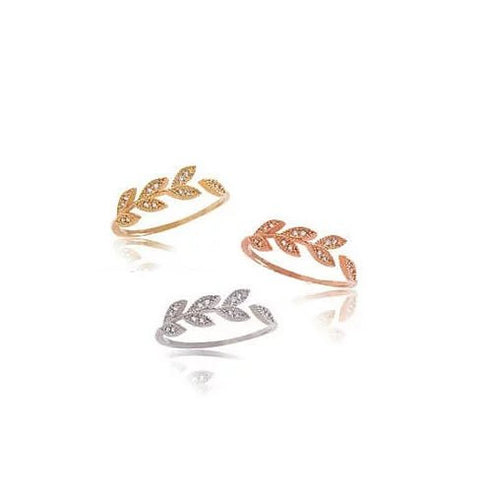 Vine and Dine Delicate Leaf Ring - VistaShops - 1