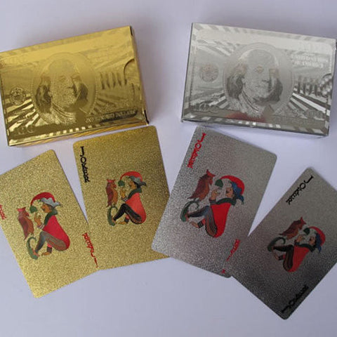 Our WIN! WIN! 24 kt Gold or Silver Plated playing cards in a laminated Jewel box - VistaShops - 3