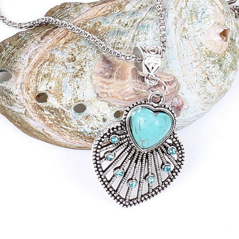 Peacock Heart Turquoise Token Of Love Pendant And Antique silver style Necklace - VistaShops - 2