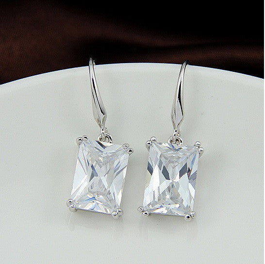 Royalty Earrings Emerald Cut Big Solitaires On Hooks
