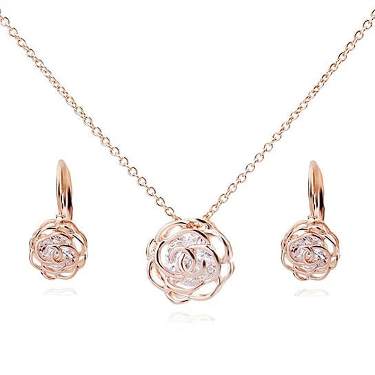 shopify-Rose Is A Rose Pendant And Chain 18kt Rose With 2ct CZ Bonus Free Earrings In White Yellow And Rose Gold Field-1