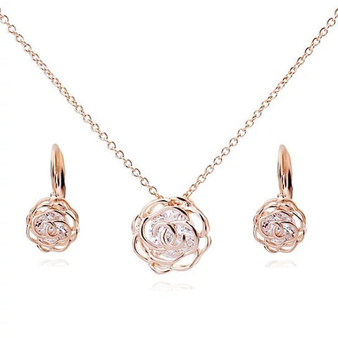 Rose Is A Rose Pendant And Chain 18kt Rose With 2ct CZ _ Bonus Free Earrings In White Yellow And Rose Gold Field