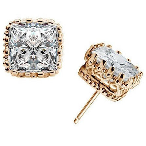 Royal Crown Earrings in Princess Cut Stones - VistaShops - 3
