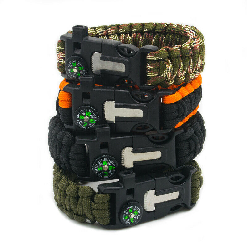 shopify-Paracord Survival Bracelet Compass/Flint/-1