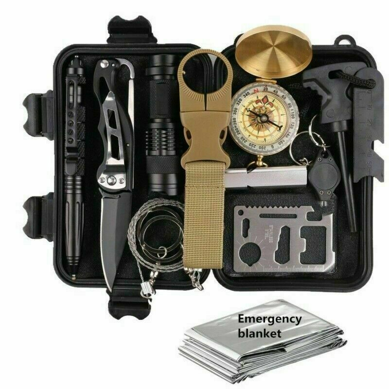 shopify-14 in 1 Outdoor Emergency Survival Gear Kit Camping Tactical Tools SOS EDC Case-1
