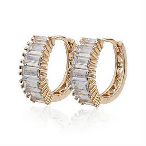 Shiny Baguettes Hoop Earrings in Baguette stones in White Gold - VistaShops - 1