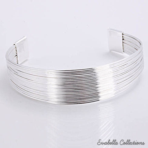 Simplicity Silver Cuff Italian Design Bracelets design by Evabella Collections - VistaShops