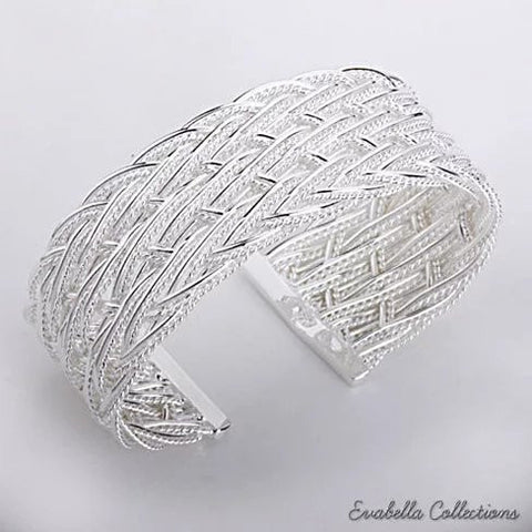 Sleek Silver Cuff Bracelet in Italian Design by Evabella Collections