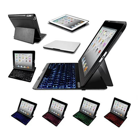 Slimmest Backlit iPad 2/3/4, Air 1/2 and Mini Hard Shell Case with Bluetooth Keyboard - VistaShops - 3