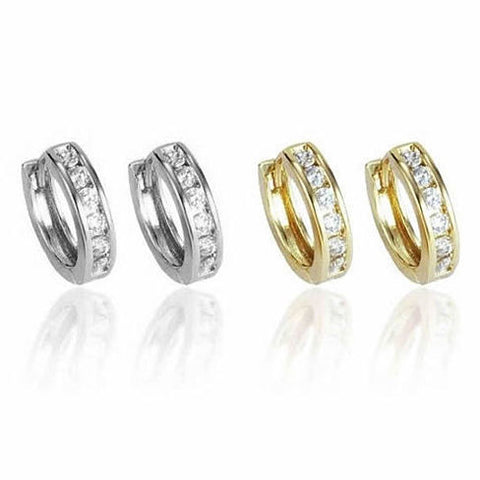 Sweet Hoops Earrings, Reversible with 12 CZ Diamonds in Real Gold Plated, 18 mm diameter - VistaShops - 1
