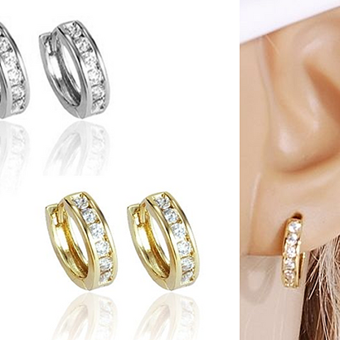Sweet Hoops Earrings, Reversible with 12 CZ Diamonds in Real Gold Plated, 18 mm diameter - VistaShops - 2