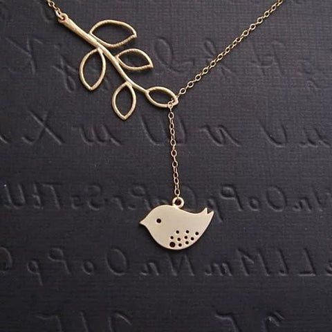 Spring has Sprung! Necklace and Chain with Sparrow and Tree Flying to the Nest - VistaShops - 1