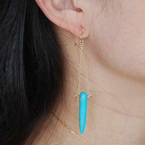 Tribal Spirit Turquoise Gold Plated Earrings - VistaShops - 1