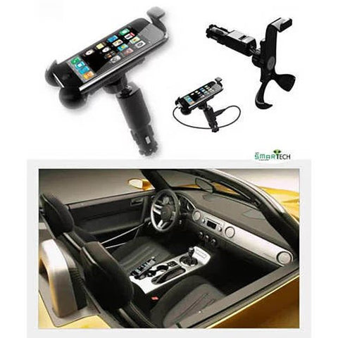 Universal Smartphone Stand with Car Charger Built in