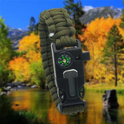 Paracord Survival Bracelet Compass/Flint/