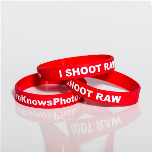 Three I SHOOT RAW wristbands - Canon
