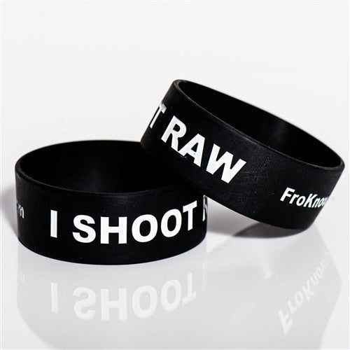 Two thick I SHOOT RAW wristbands - Black - froknowsphoto