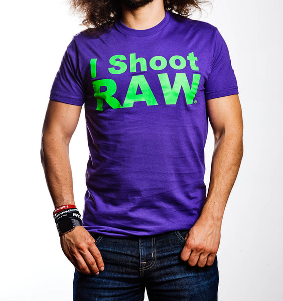 NEW Purple I SHOOT RAW with Lime Green Printing - froknowsphoto