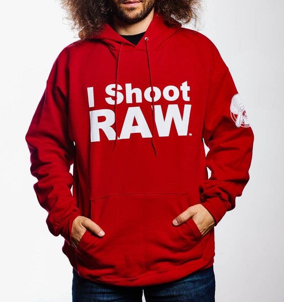 I SHOOT RAW - Hoodie - Red - Small - froknowsphoto