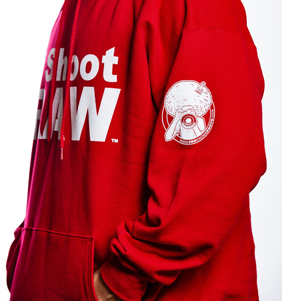I SHOOT RAW - Hoodie - Red SALE - froknowsphoto