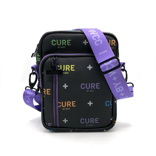 Cannabis Mini Messenger Bag CURE Purple+Black Logo