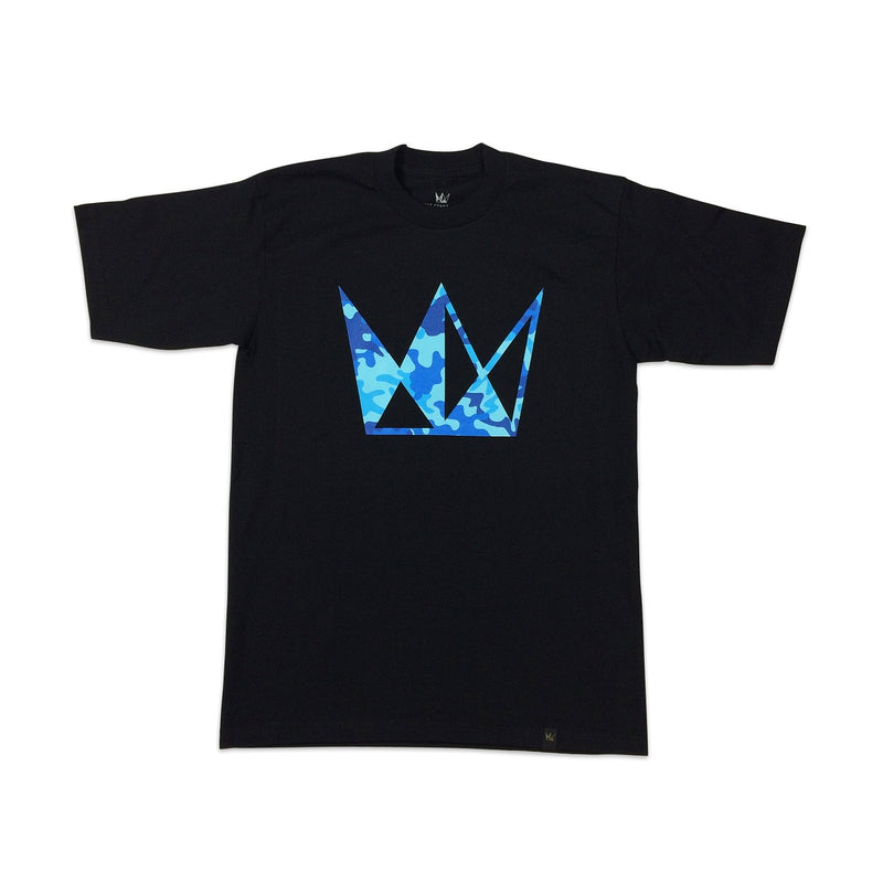 Cannabis Tee Blue CURE Camo Crown