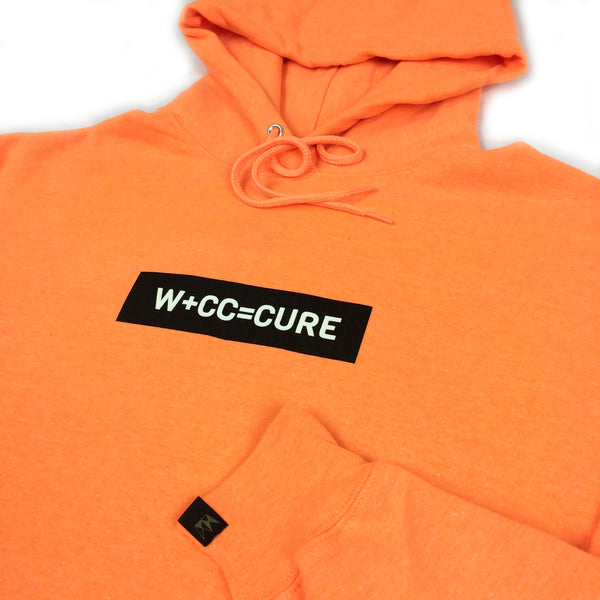 W+CC=CURE Raised Ink Hood - Neon Orange