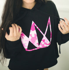 Women's Black Crop Hoodie w/ Pink Camo Crown