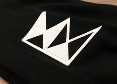 Embroidered Crown Patch Black Pullover Hoodie (White Crown)