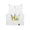 Women's White Crop Tank w/ Gold Crown