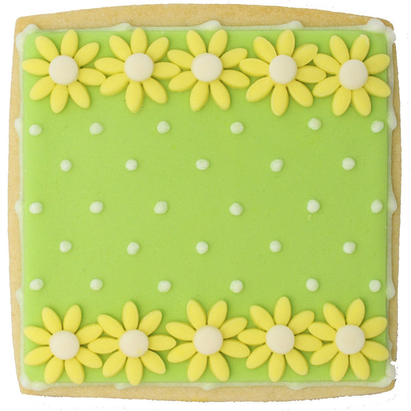 Green with Yellow Flowers and Polkadots