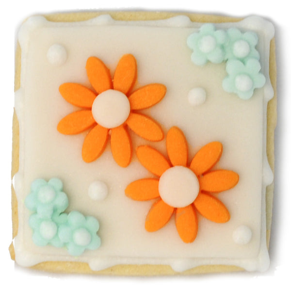 Mini Cookie - Orange and Blue Flowers