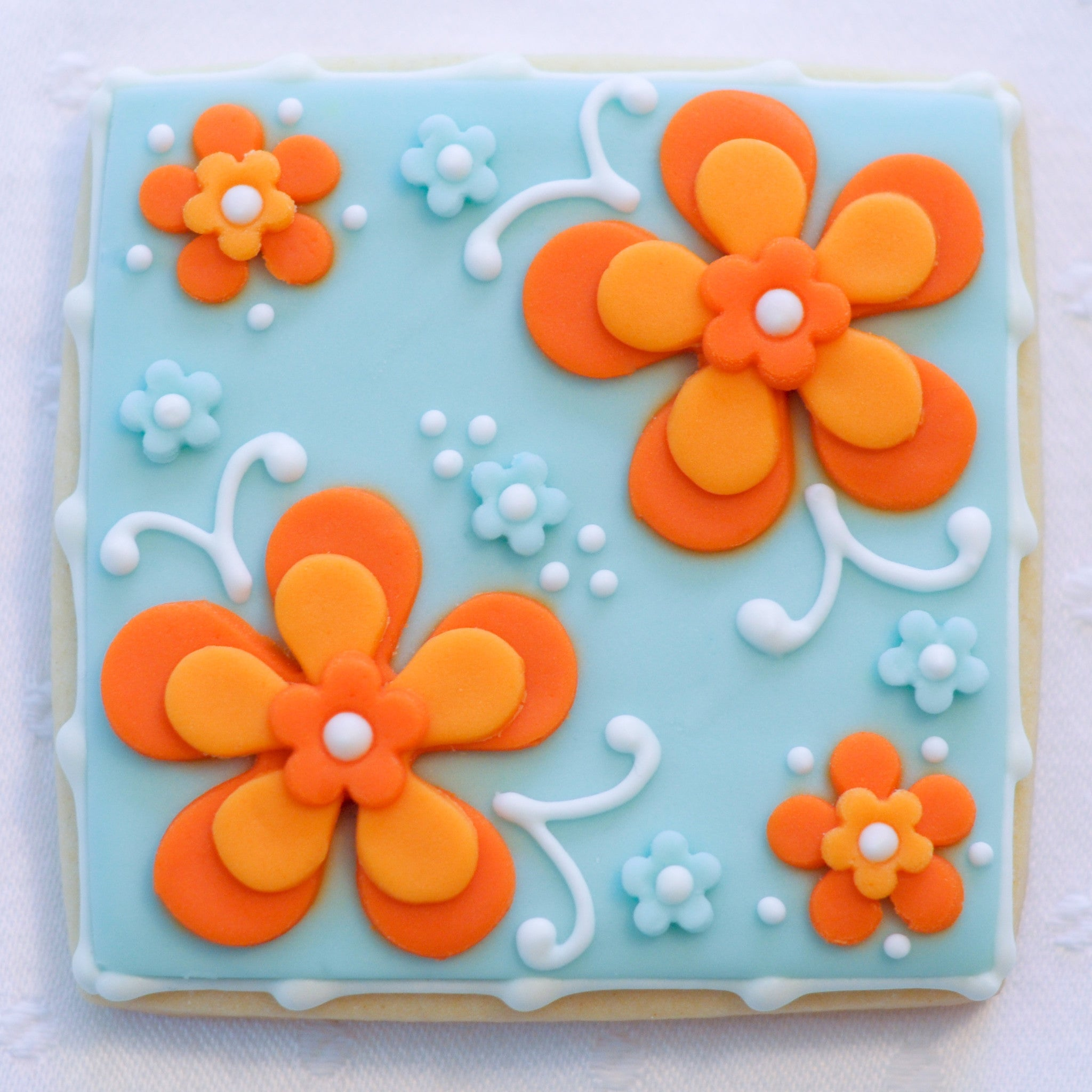 Wedding Cookie - Blue with Orange Flowers